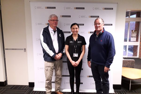 Chairman Phil, PhD student Lelinh, Director Rob at Curtin 20190613
